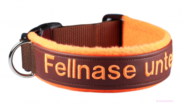 "Besticktes Halsband - ""Fellnase unterwegs"" - Neon-Orange"