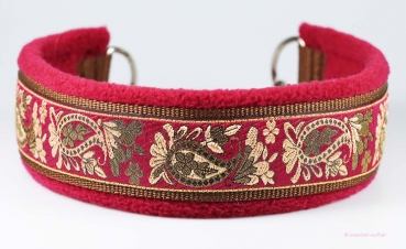 Jacquard-Halsband - Fleece Bordeauxrot